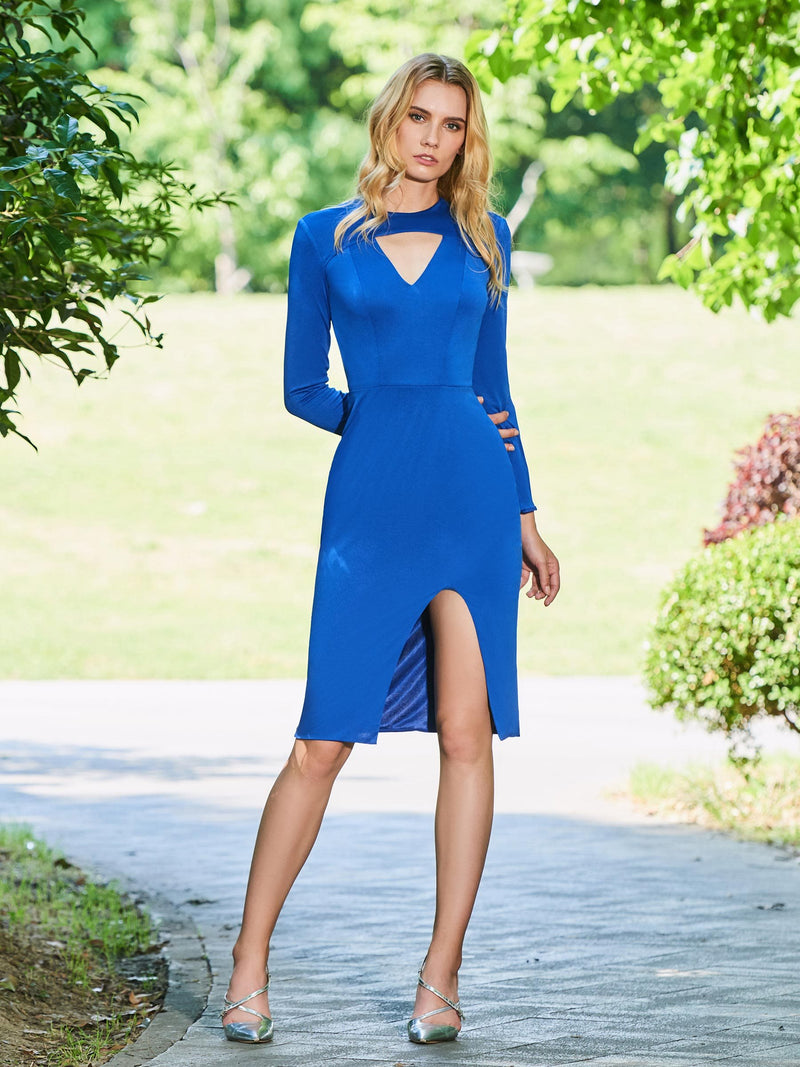 Sheath/Column Split-Front Long Sleeves Scoop Cocktail Dress
