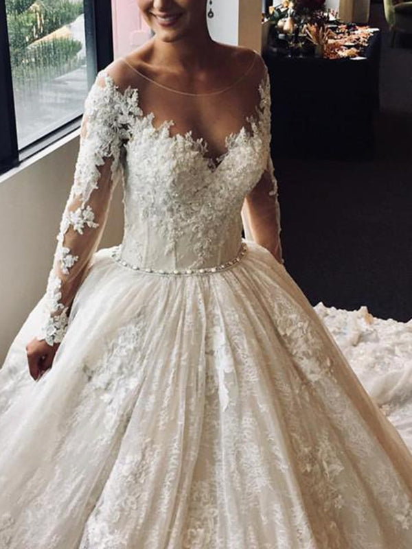 Long Sleeves Beading Ball Gown Floor-Length Church Wedding Dress