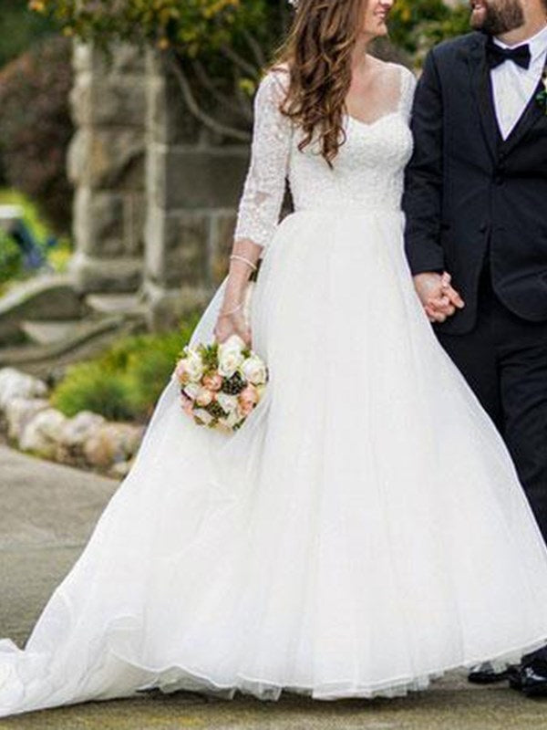 3/4 Length Sleeves Ball Gown Button Sweetheart Church Wedding Dress