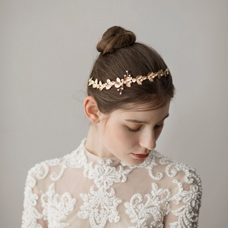 Hairband Pearl Inlaid Leaf Hair Accessories (Wedding)