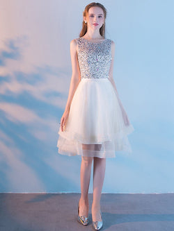 Sequins Scoop A-Line Knee-Length Wedding Party Dress