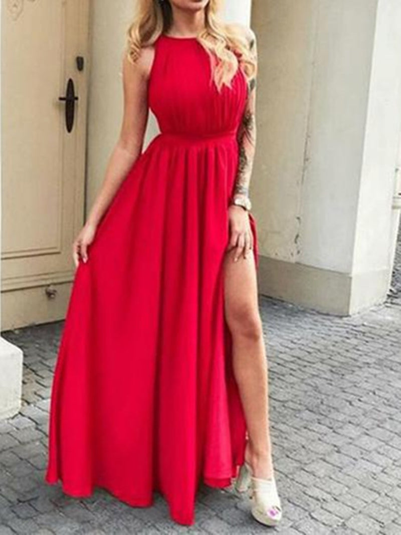 A-Line Scoop Floor-Length Sleeveless Prom Dress