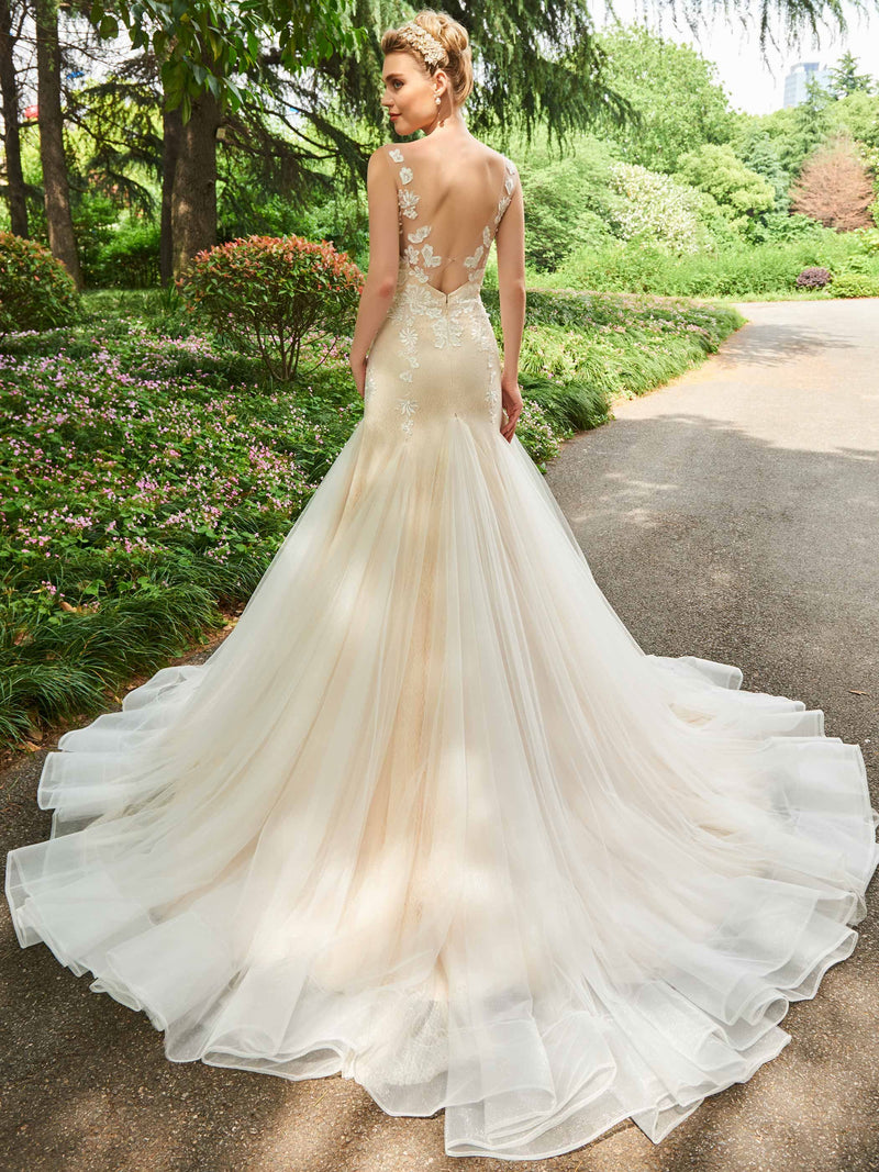 Cathedral Trumpet/Mermaid Lace V-Neck Church Wedding Dress