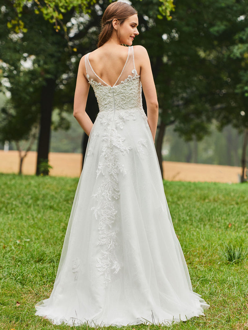 Floor-Length A-Line Sleeveless Lace Hall Wedding Dress