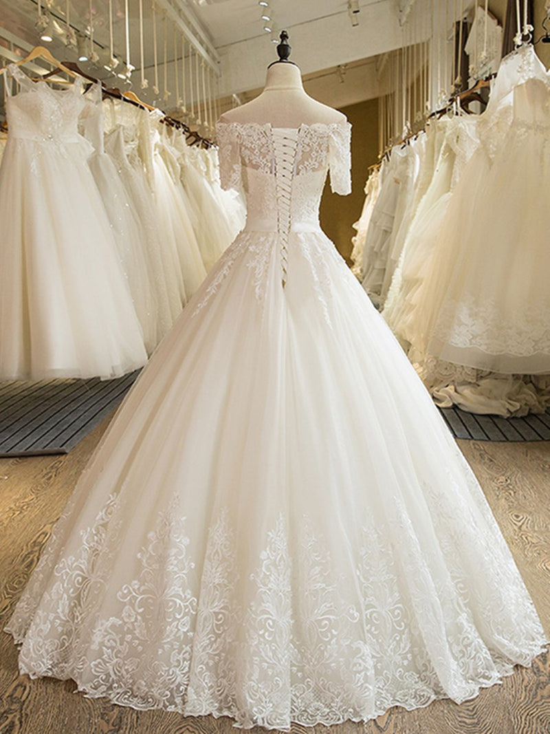 Off-The-Shoulder Ball Gown Appliques Floor-Length Hall Wedding Dress