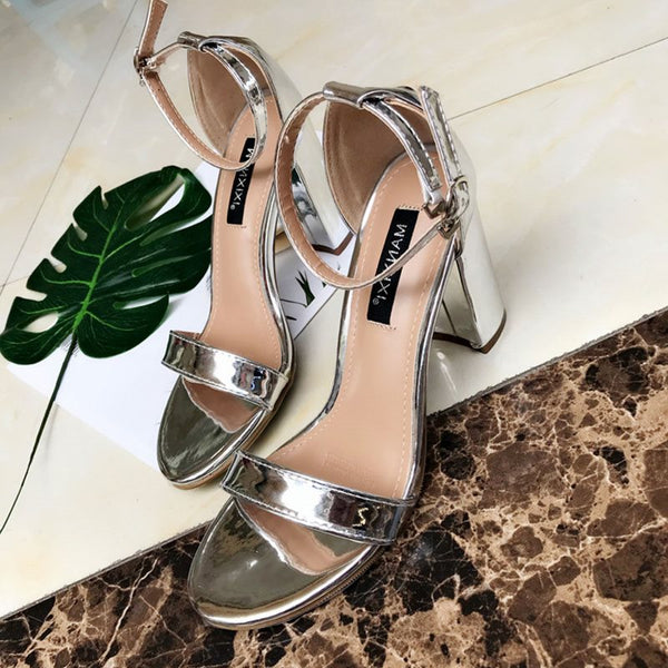 Open Toe Chunky Heel Heel Covering Line-Style Buckle Casual Low-Cut Upper Sandals