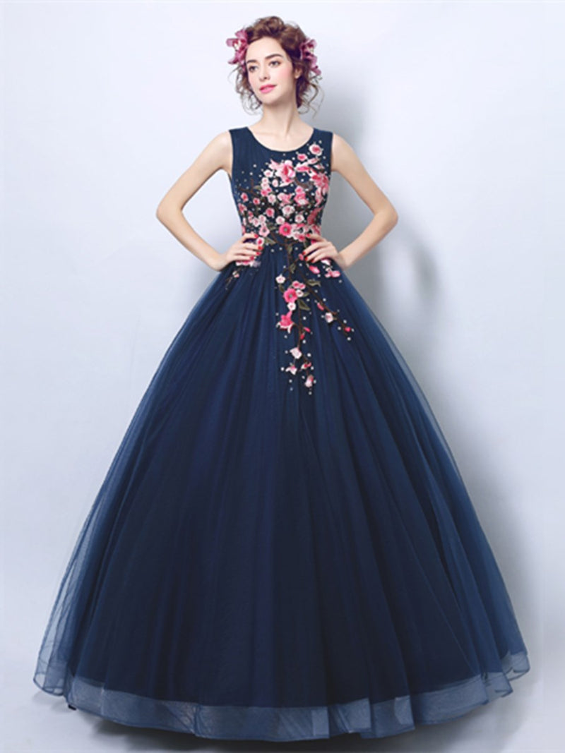 Floor-Length Sleeveless Ball Gown Embroidery Quinceanera Dress