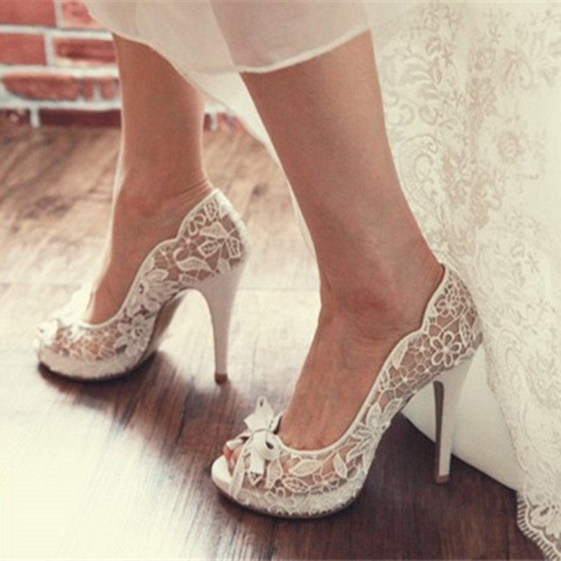 Peep Toe Stiletto Heel Lace Slip-On Low-Cut Upper Wedding Thin Shoes