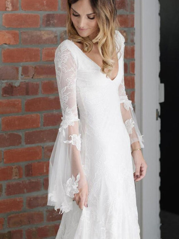 A-Line V-Neck Floor-Length Long Sleeves Hall Wedding Dress
