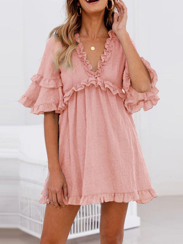 Half Sleeve Above Knee V-Neck Summer A-Line Dress