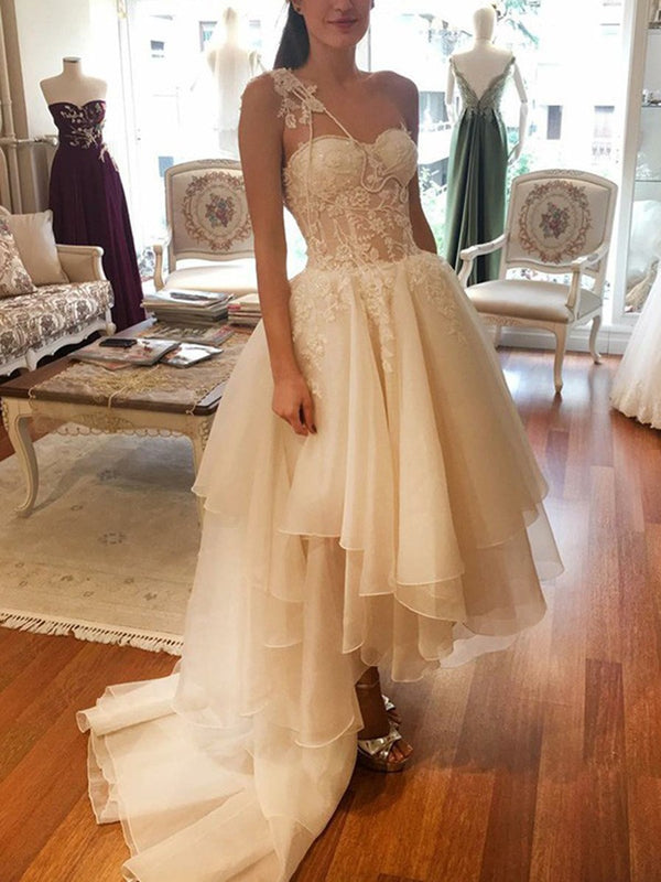 Asymmetry Sleeveless A-Line Appliques Beach Wedding Dress