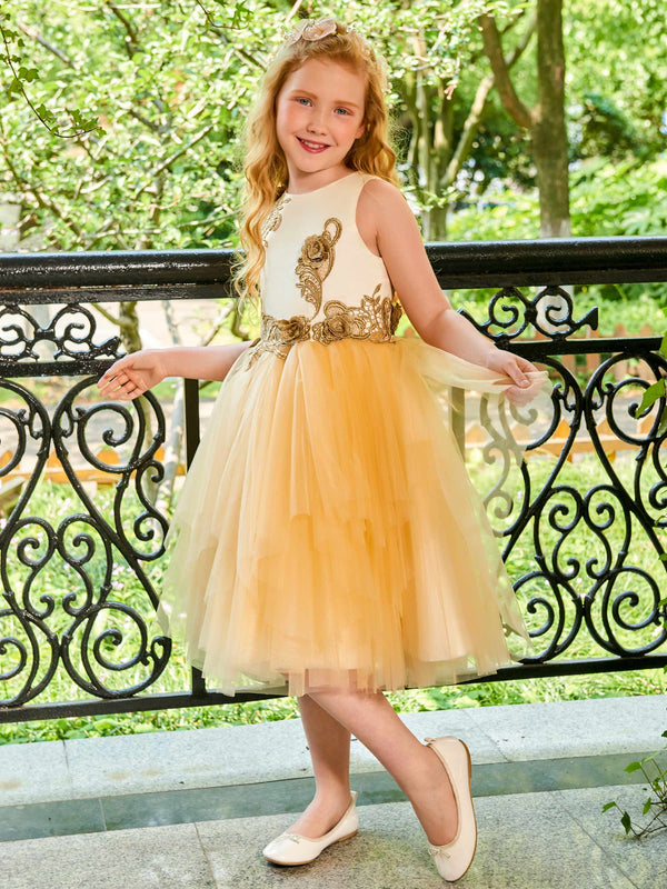 Fall Ball Gown Sleeveless Knee-Length Flower Girl Dress