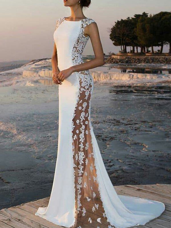 Scoop Sweep/Brush Floor-Length Lace Evening Dress