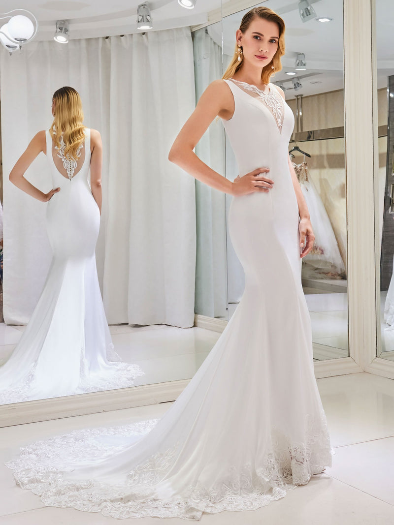 Court Sleeveless Trumpet/Mermaid Button Hall Wedding Dress