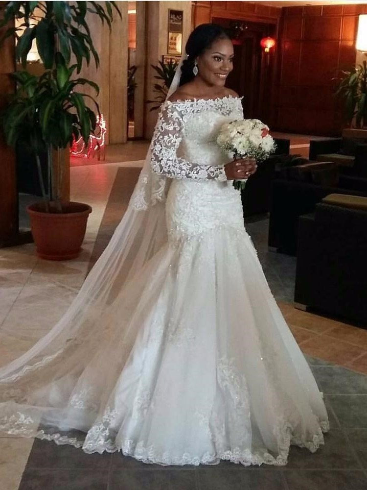 Trumpet/Mermaid Floor-Length Court Long Sleeves Hall Wedding Dress