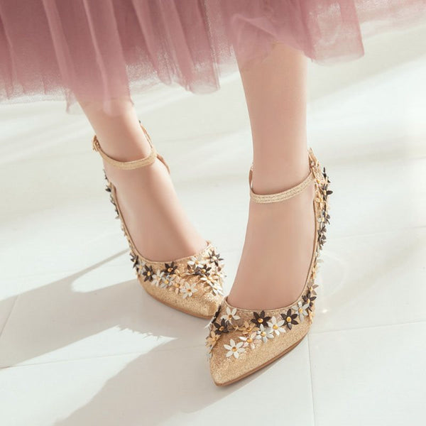 Pointed Toe Line-Style Buckle Rivet Stiletto Heel Low-Cut Upper 9.5cm Thin Shoes