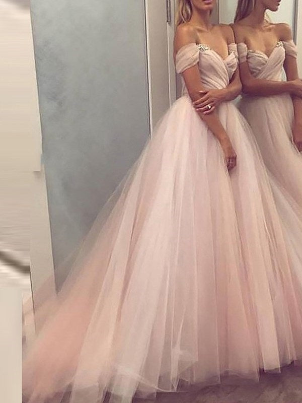 Sleeveless Sweep/Brush A-Line Off-The-Shoulder Prom Dress