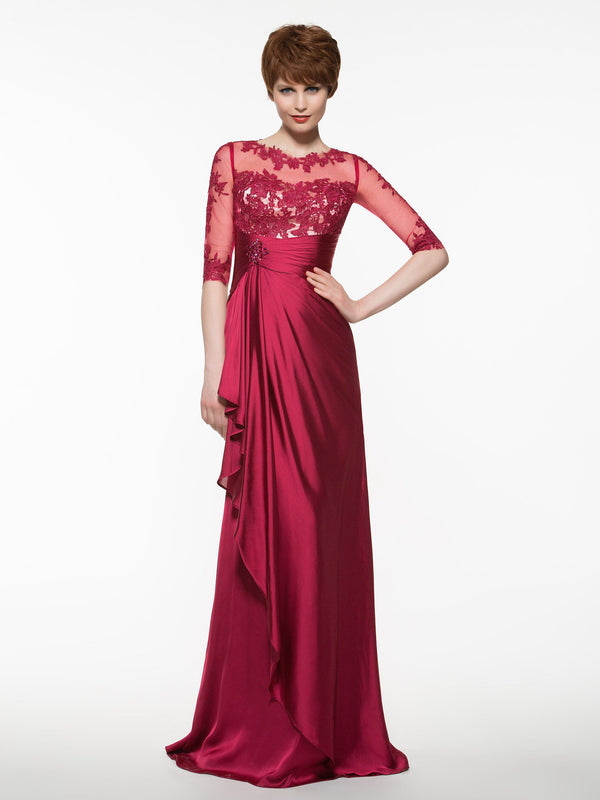 Floor-Length Sweep/Brush Scoop Sheath/Column Wedding Party Dress