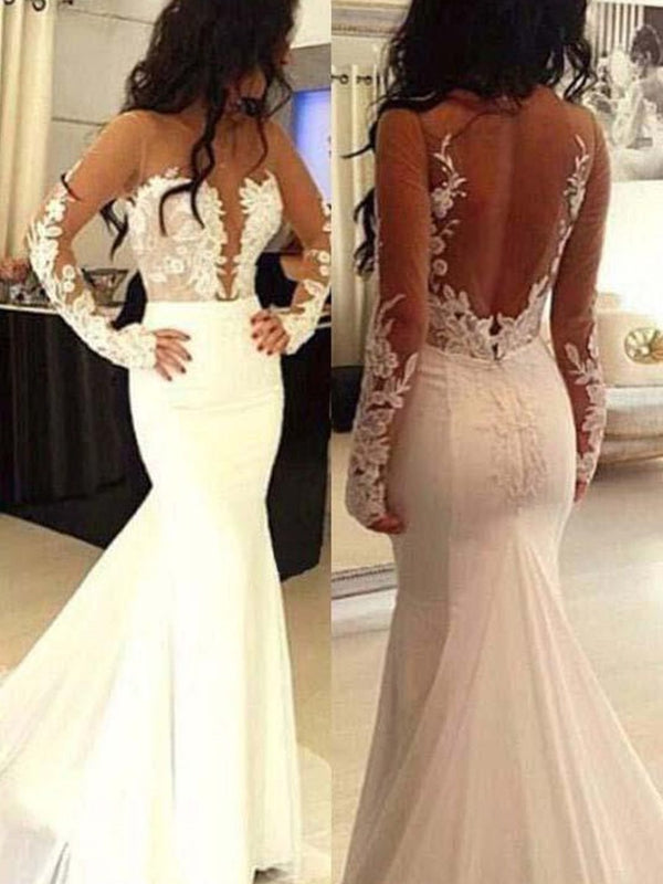 Long Sleeves Floor-Length Trumpet/Mermaid Appliques Church Wedding Dress