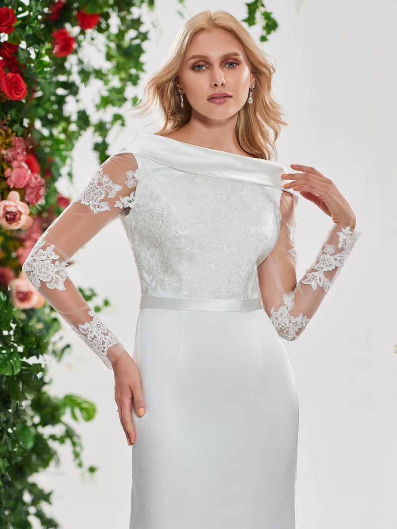 Off-The-Shoulder Floor-Length Long Sleeves Appliques Hall Wedding Dress
