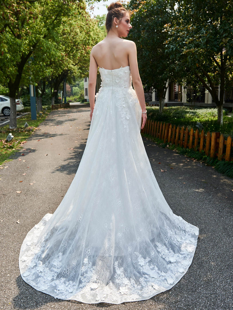 Sleeveless Appliques Sweetheart A-Line Church Wedding Dress