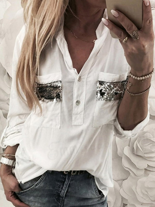Sequins Mid-Length Long Sleeve Blouse