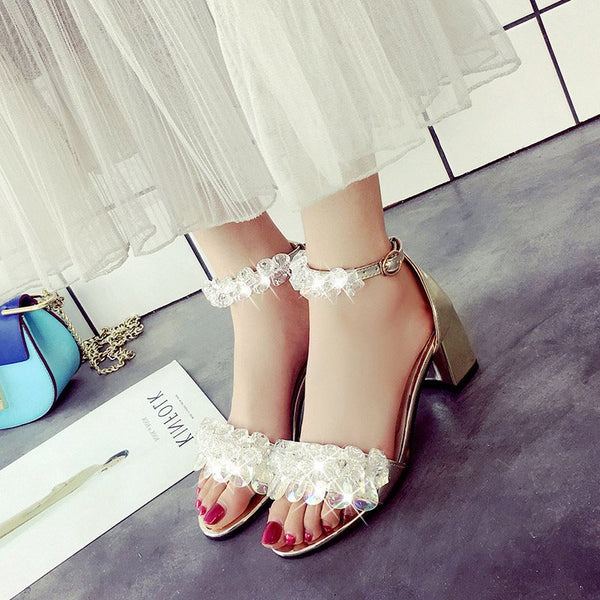 Line-Style Buckle Open Toe Heel Covering Chunky Heel Plain Low-Cut Upper Sandals