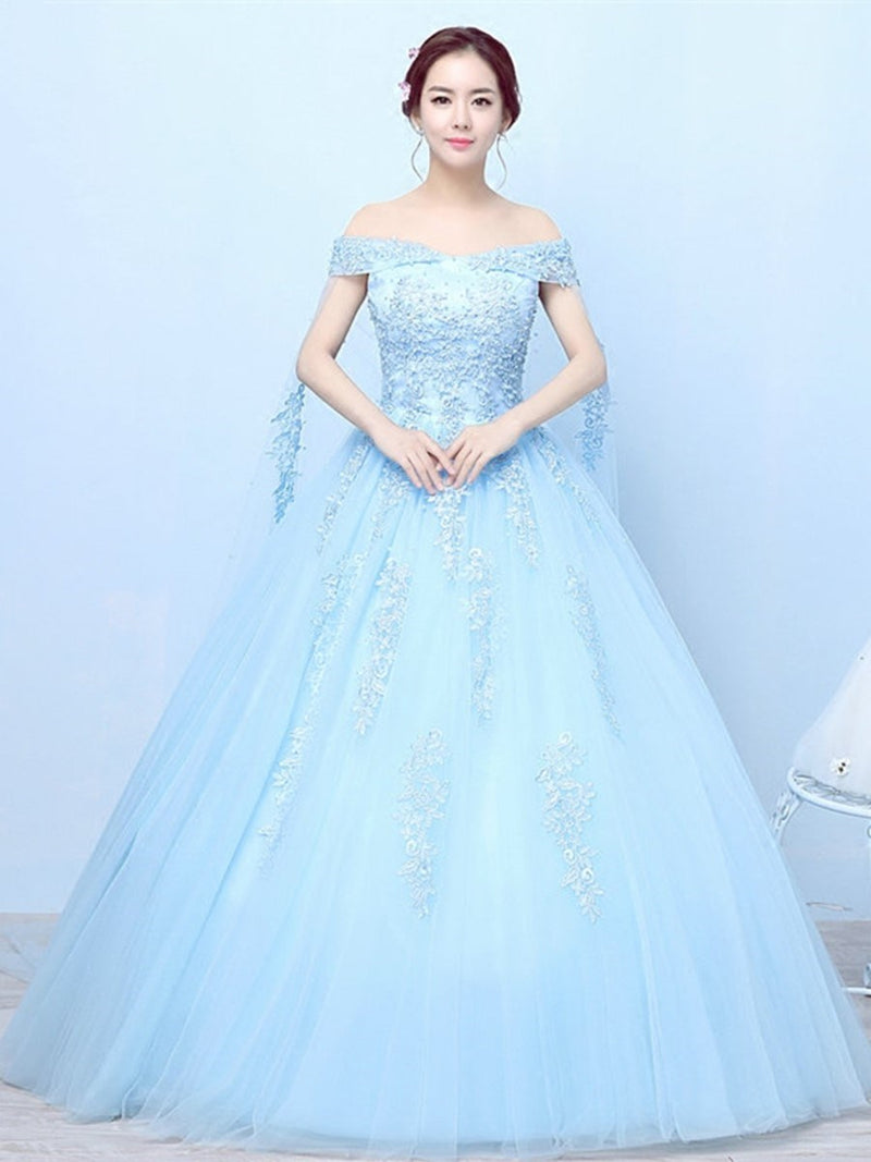 Off-The-Shoulder Floor-Length Ball Gown Short Sleeves Quinceanera Dress