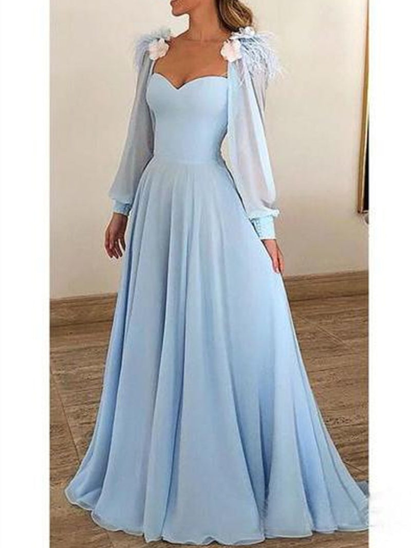 Long Sleeves A-Line Floor-Length Appliques Prom Dress