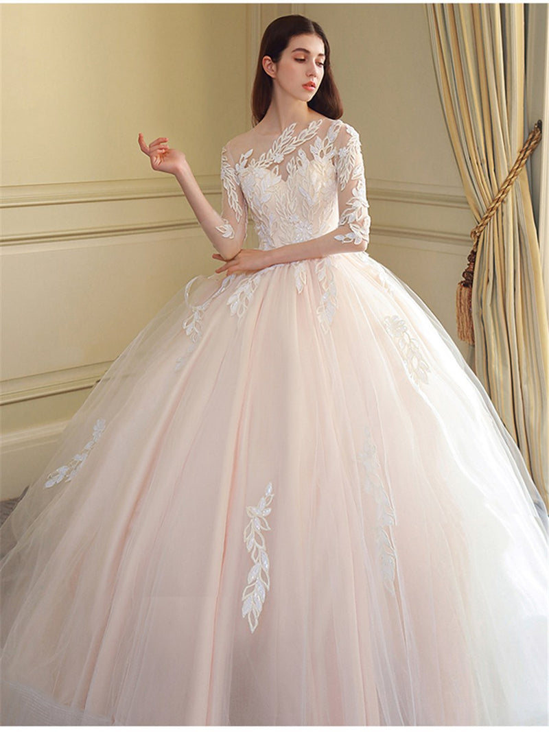 Bateau Appliques Floor-Length 3/4 Length Sleeves Hall Wedding Dress