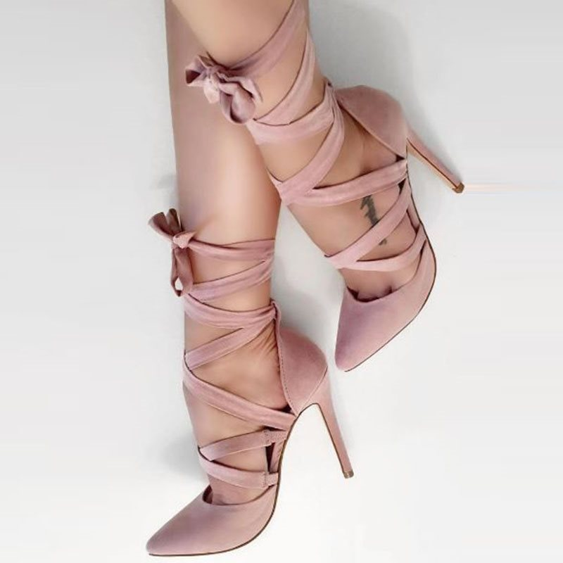 Pointed Toe Stiletto Heel Lace-Up Low-Cut Upper Plain Thin Shoes
