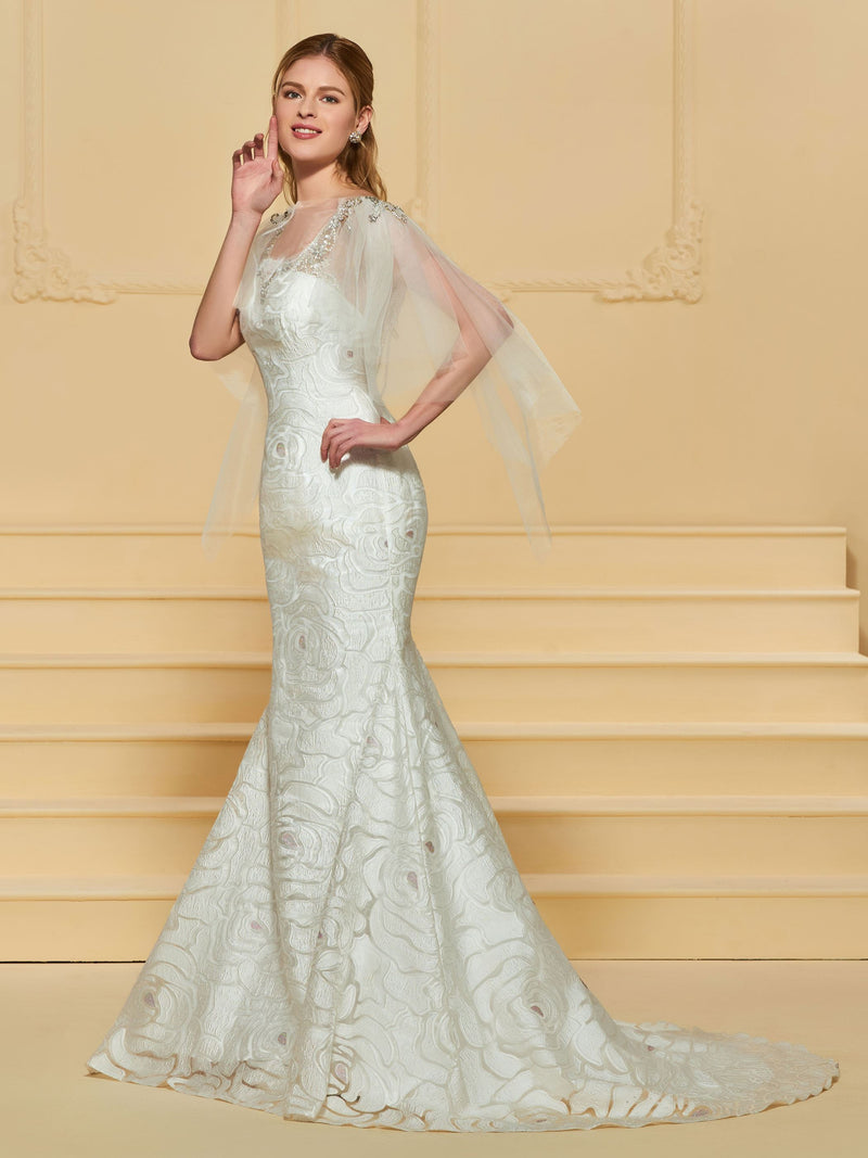 Floor-Length Sweep/Brush Beading Scoop Church Wedding Dress
