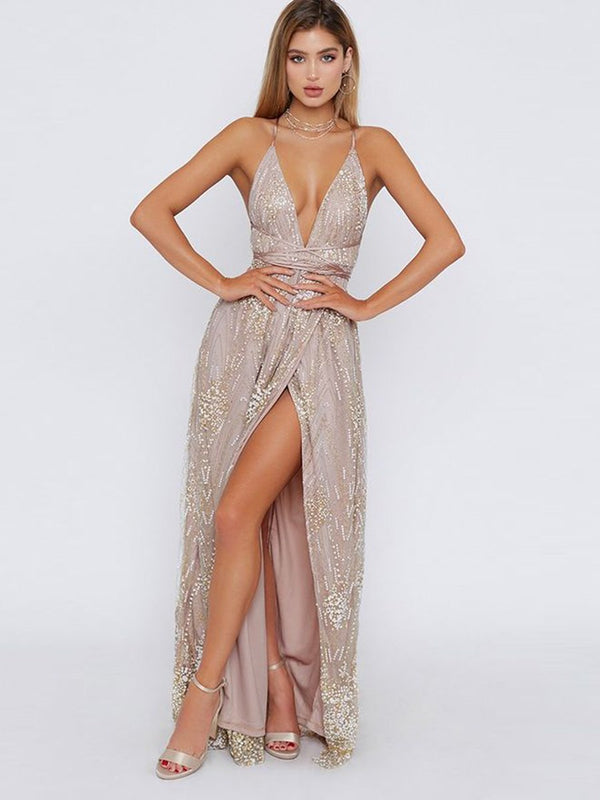 Sequins Sleeveless Sweep/Brush A-Line Evening Dress
