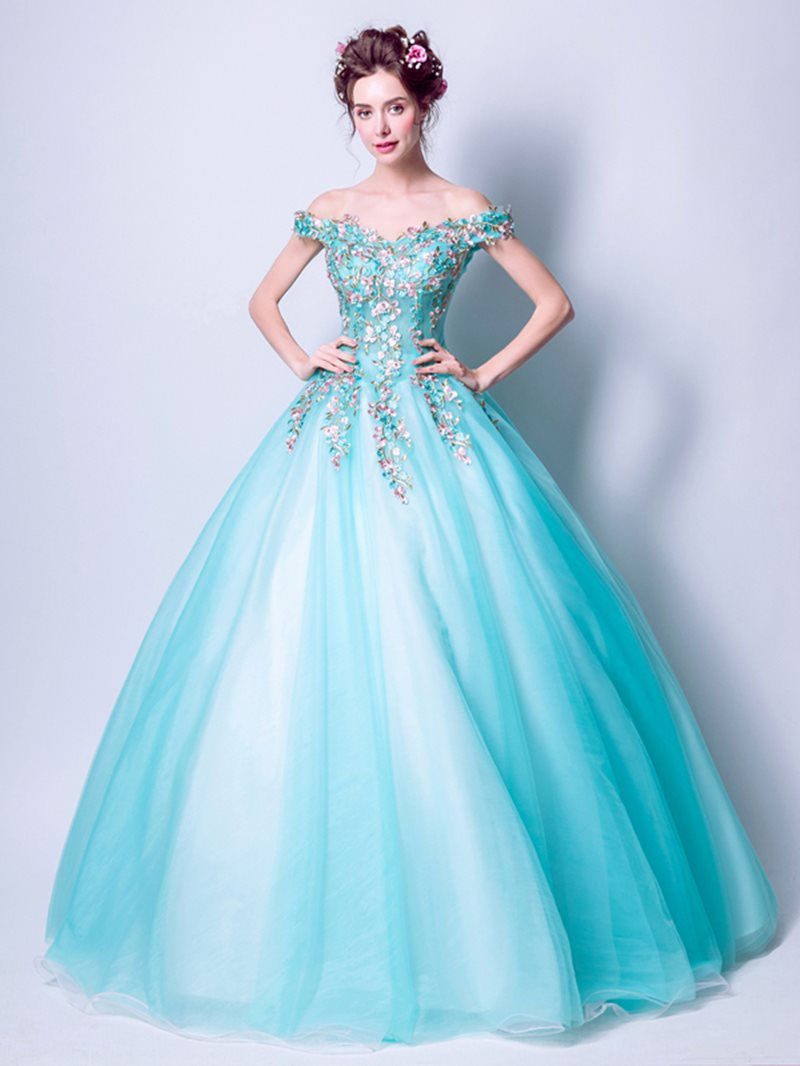 Floor-Length Sleeveless Off-The-Shoulder Pearl Quinceanera Dress