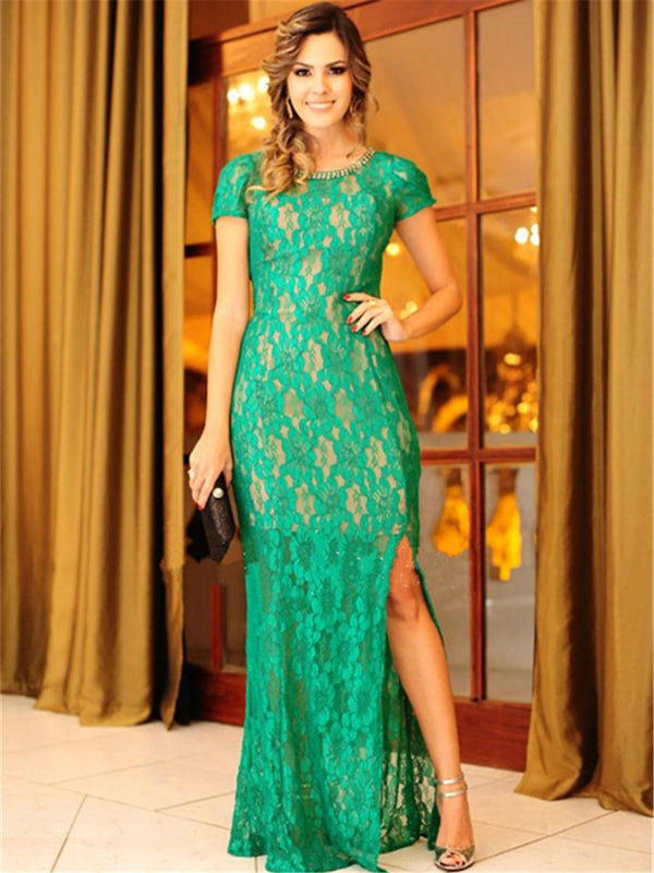 Floor-Length Sheath/Column Beading Short Sleeves Formal Dress