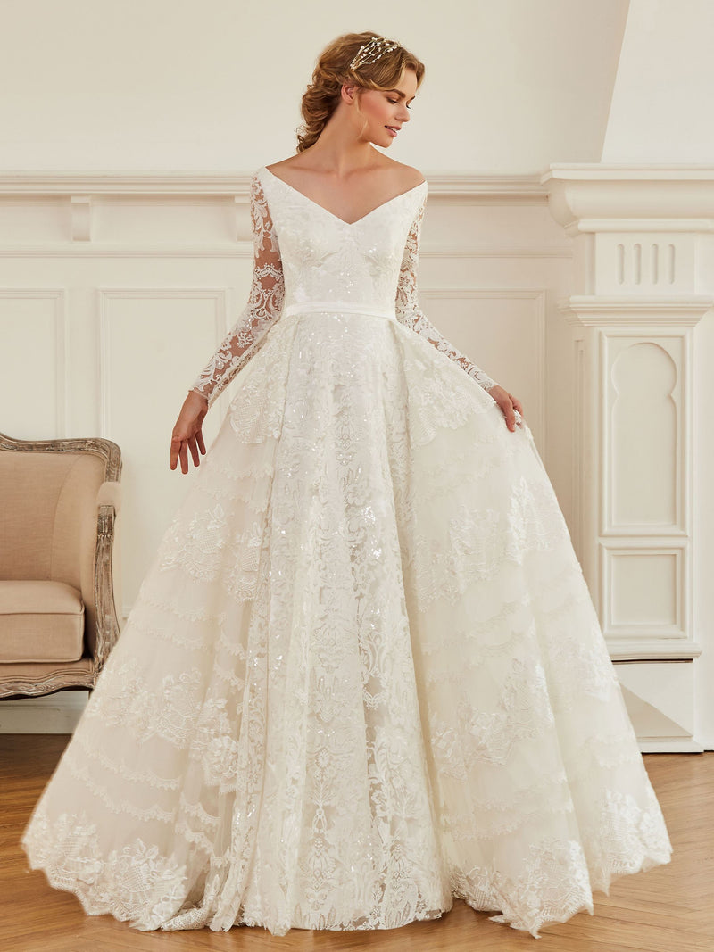 A-Line Lace V-Neck Long Sleeves Hall Wedding Dress