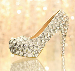 Slip-On Rhinestone Round Toe Stiletto Heel 12cm Sweet Thin Shoes