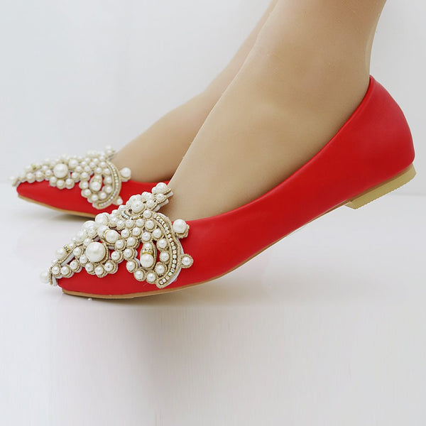 Pointed Toe Block Heel Beads Slip-On Low-Cut Upper Wedding Thin Shoes