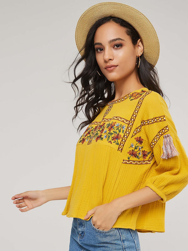 Lantern Sleeve Round Neck Tassel Three-Quarter Sleeve Standard Blouse