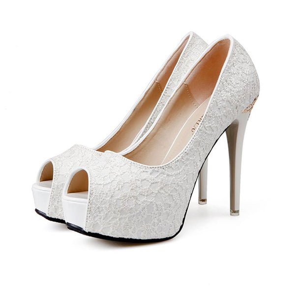 Peep Toe Slip-On Platform Stiletto Heel Low-Cut Upper 12cm Thin Shoes