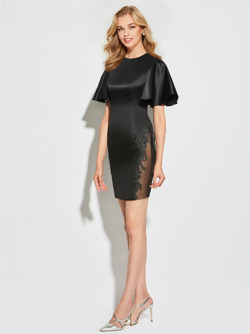Sheath/Column Appliques Short/Mini Short Sleeves Cocktail Dress