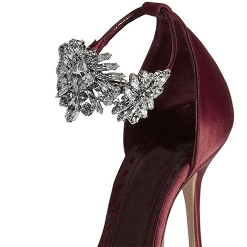 Stiletto Heel Line-Style Buckle Pointed Toe Rhinestone Casual 10cm Thin Shoes