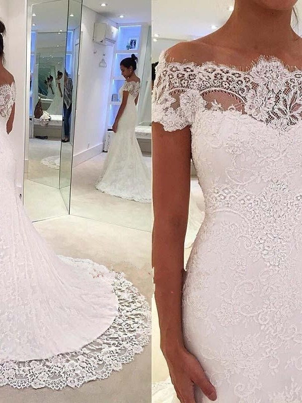 Lace Cap Sleeves Floor-Length Court Hall Wedding Dress