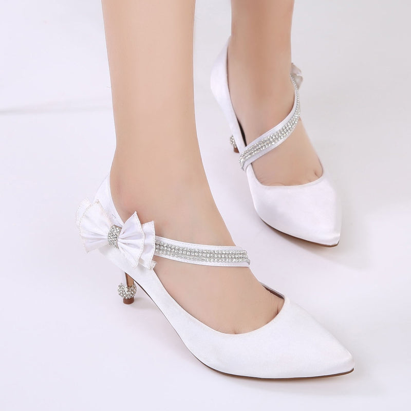 Velcro Bow Stiletto Heel Pointed Toe 7.5cm Plain Thin Shoes
