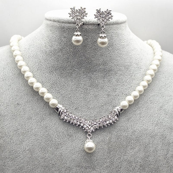 Floral Necklace Diamante Jewelry Sets (Wedding)