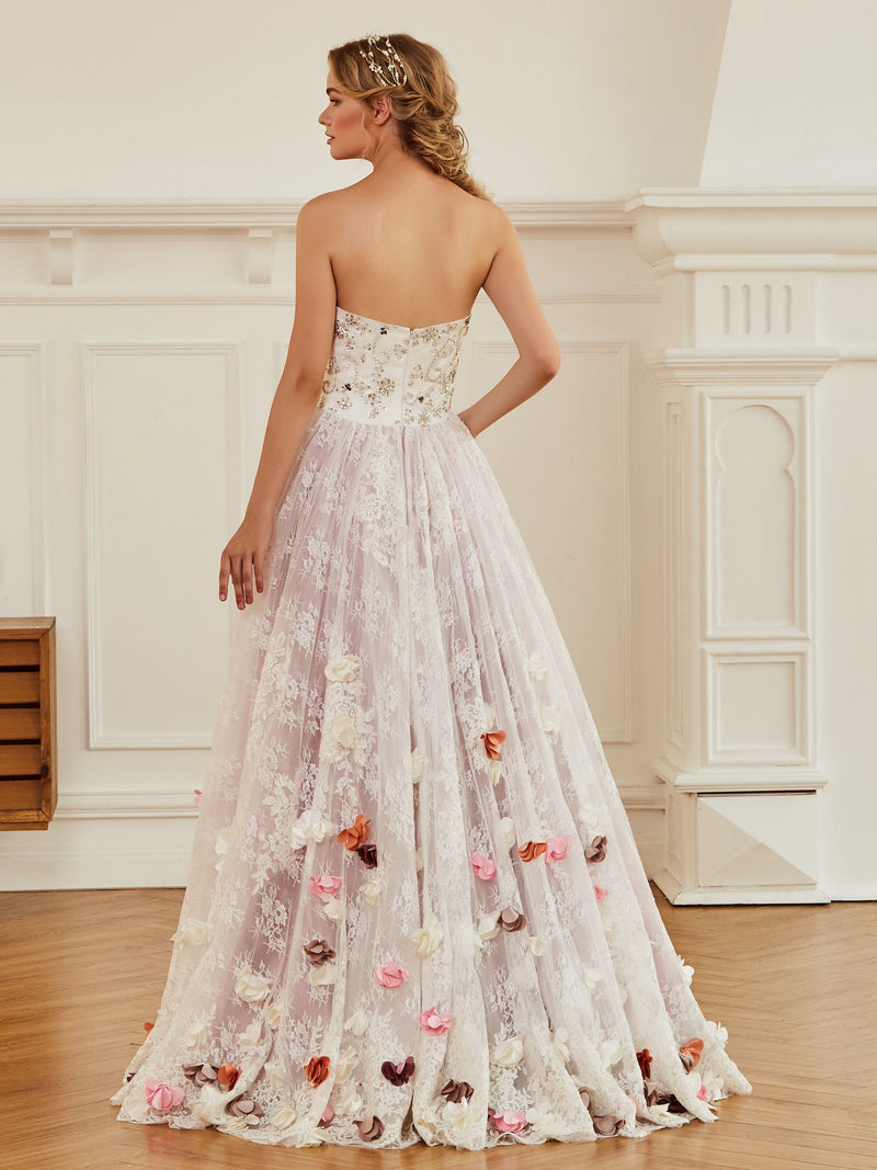 Appliques Sweetheart Sleeveless Ball Gown Church Wedding Dress