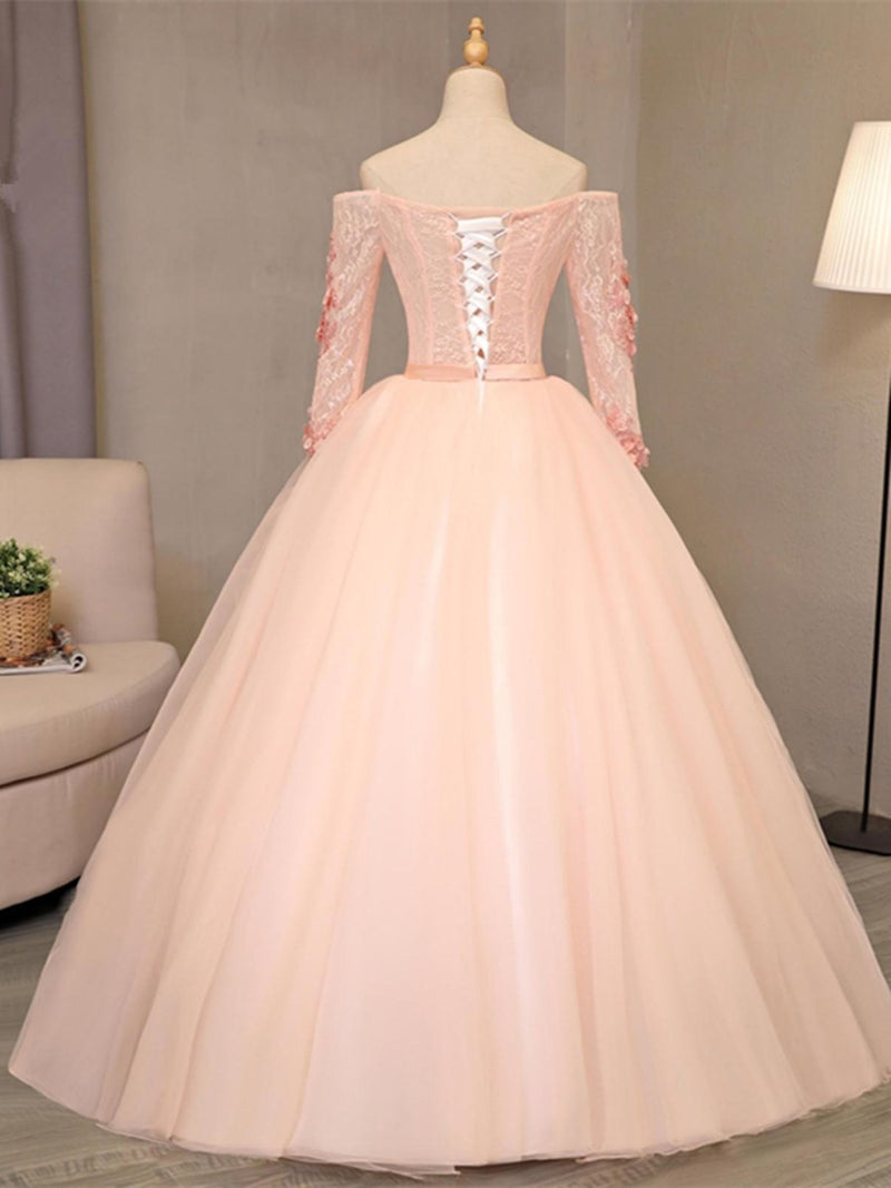 Long Sleeves Ball Gown Off-The-Shoulder Floor-Length Quinceanera Dress