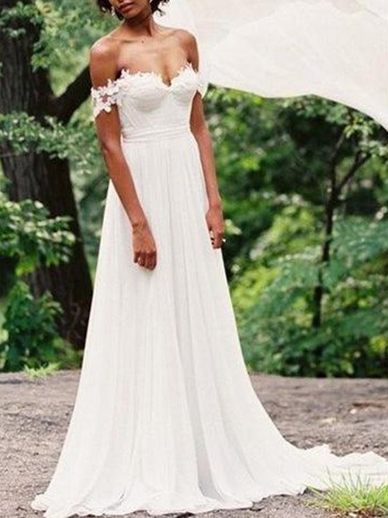 Floor-Length Short Sleeves Off-The-Shoulder Court Hall Wedding Dress