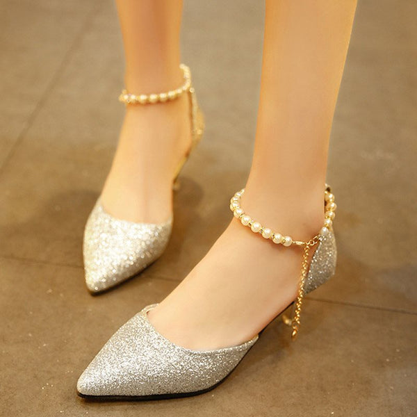 Line-Style Buckle Pointed Toe Stiletto Heel Sequin 6cm Low-Cut Upper Thin Shoes