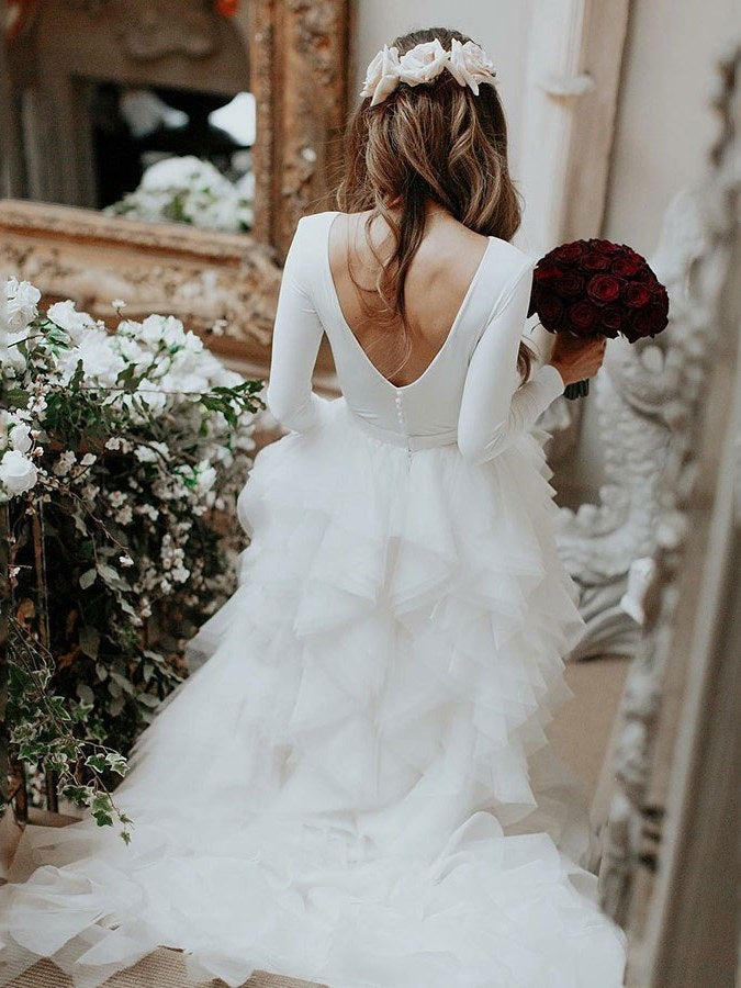 Ball Gown Long Sleeves Cascading Ruffles Sweep/Brush Church Wedding Dress